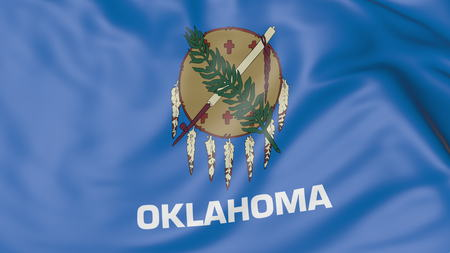 Waving flag of Oklahoma state. 3D rendering Stock Photo