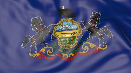 Waving flag of Pennsylvania state. 3D rendering Stock Photo