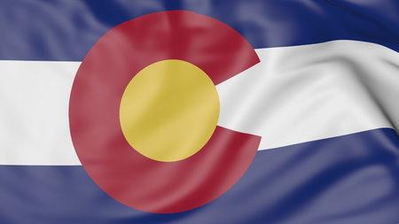 colorado flag: Waving flag of Colorado state. 3D rendering Stock Photo
