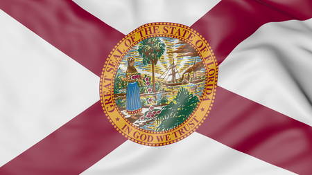 Waving flag of Florida state. 3D rendering Stock Photo