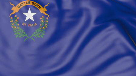 Waving flag of Nevada state. 3D rendering Stock Photo