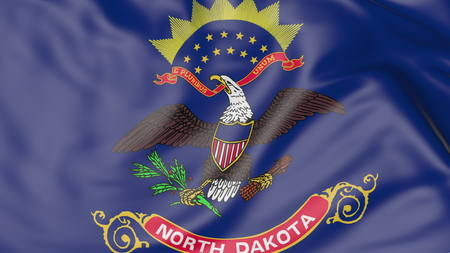 Waving flag of North Dakota state. 3D rendering