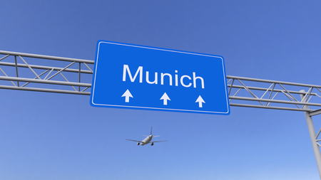 twin engine: Commercial airplane arriving to Munich airport. Travelling to Germany conceptual 3D rendering