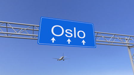 twin engine: Commercial airplane arriving to Oslo airport. Travelling to Norway conceptual 3D rendering