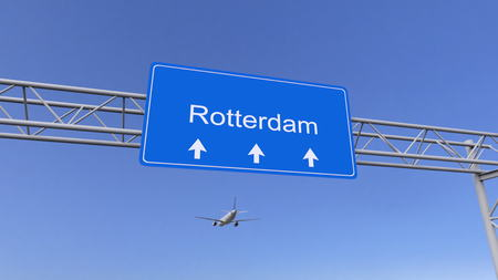 twin engine: Commercial airplane arriving to Rotterdam airport. Travelling to Netherlands conceptual 3D rendering