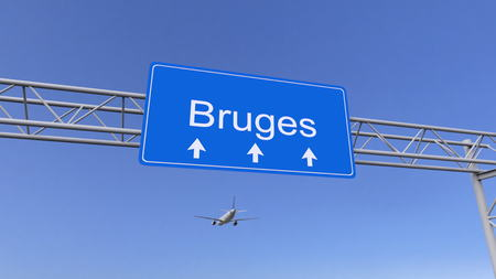 twin engine: Commercial airplane arriving to Bruges airport. Travelling to Belgium conceptual 3D rendering