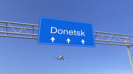 twin engine: Commercial airplane arriving to Donetsk airport. Travelling to Ukraine conceptual 3D rendering