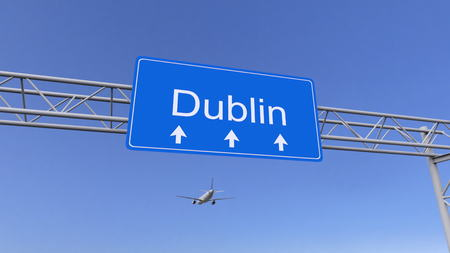 twin engine: Commercial airplane arriving to Dublin airport. Travelling to Ireland conceptual 3D rendering