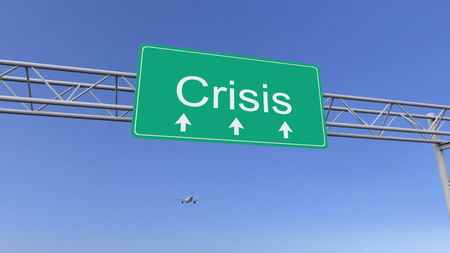 Commercial airplane passing crisis road sign. Conceptual 3D rendering