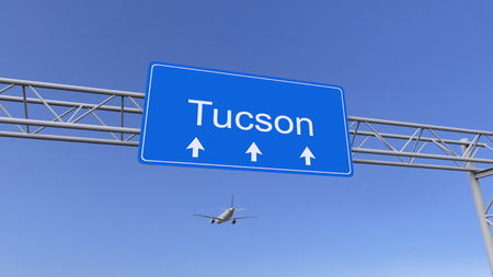 Commercial airplane arriving to Tucson airport. Travelling to United States conceptual 3D rendering
