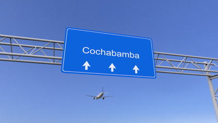 cochabamba: Commercial airplane arriving to Cochabamba airport. Travelling to Bolivia conceptual 3D rendering