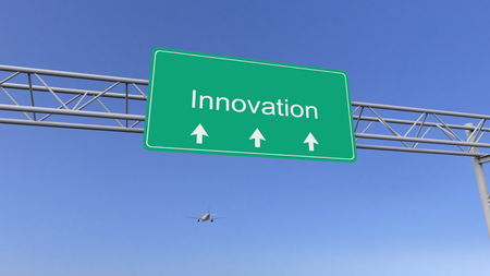 Commercial airplane passing innovation road sign. Conceptual 3D rendering Stock Photo