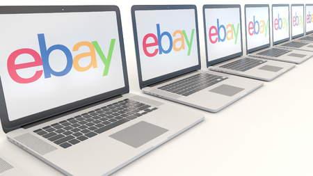 ebay: Modern laptops with eBay Inc. logo. Computer technology conceptual editorial 3D Editorial