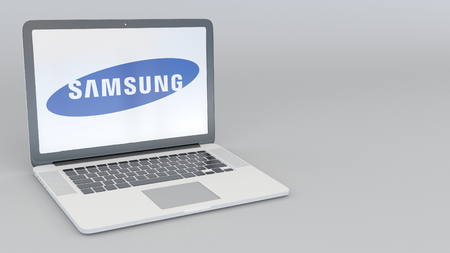 samsung: Laptop with Samsung logo. Computer technology conceptual editorial 3D rendering