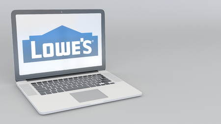 Laptop with Lowes logo. Computer technology conceptual editorial 3D rendering