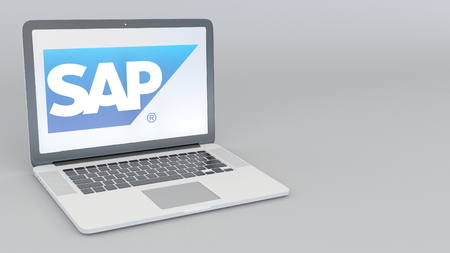 Laptop with SAP SE logo. Computer technology conceptual editorial 3D rendering