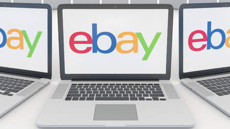 ebay: Laptops with eBay Inc. logo on the screen. Computer technology conceptual editorial 3D rendering Editorial