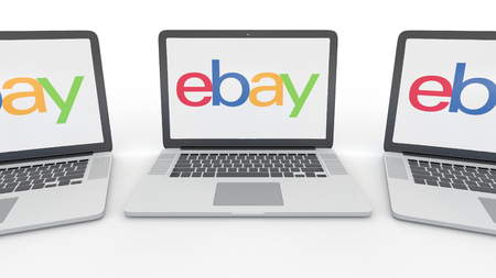 ebay: Notebooks with eBay Inc. logo on the screen. Computer technology conceptual editorial 3D rendering Editorial