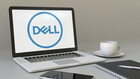 Dell Inc. 로고가 화면에있는 노트북. 현대 직장 개념적 사설 4K 애니메이션