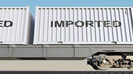貨物列車とコンテナーで輸入されたキャプション。鉄道輸送。3 D レンダリング 写真素材