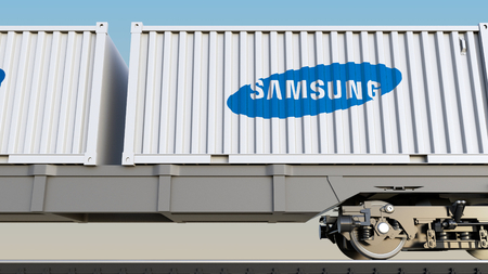 samsung: Railway transportation of containers with Samsung logo. Editorial 3D rendering