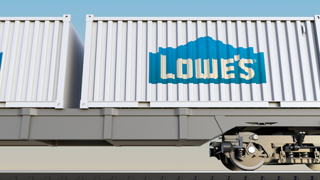 Railway transportation of containers with Lowes logo. Editorial 3D rendering Editorial