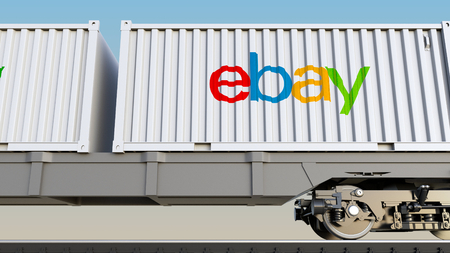 ebay: Railway transportation of containers with eBay Inc. logo. Editorial 3D rendering