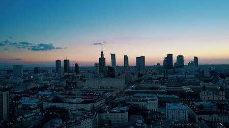 Aerial shot of Warsaw downtown in the evening, Poland