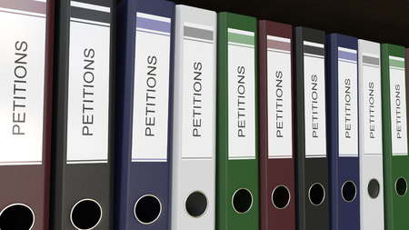 Line of multicolor office binders with Petitions tags 3D rendering