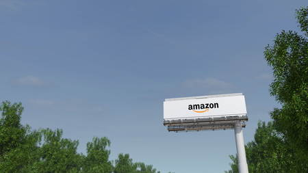 Driving towards advertising billboard with Amazon.com logo. Editorial 3D Editorial