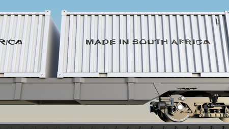 Cargo train and containers with MADE IN SOUTH AFRICA caption. Railway transportation. 3D rendering