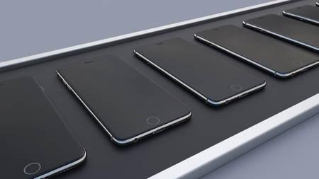 Modern smartphones moving on the conveyor belt. Hi-tech cell phone production line. 3D rendering Zdjęcie Seryjne - 75079753