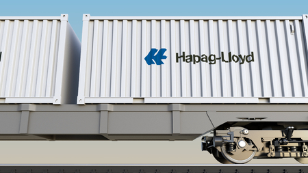 Railway transportation of containers with Hapag-Lloyd logo. Editorial 3D rendering