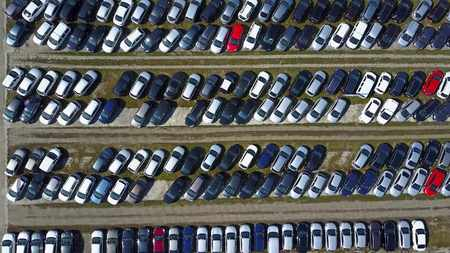 Aerial shot of new car parking, top view Archivio Fotografico