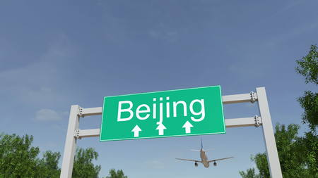 Airplane arriving to Beijing airport. Travelling to China conceptual 3D rendering Stock Photo