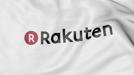 Waving flag with Rakuten logo. Editorial 3D rendering