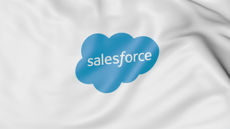 Waving flag with Salesforce logo. Editorial 3D rendering