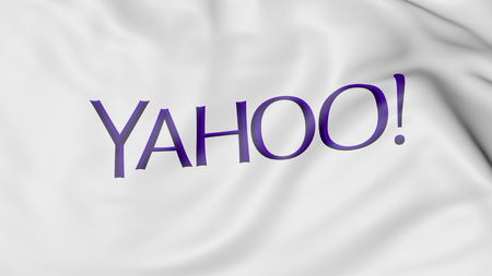 yahoo: Waving flag with Yahoo logo. Editorial 3D rendering Editorial