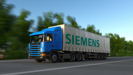 Freight semi truck with Siemens logo driving along forest road. Editorial 3D rendering