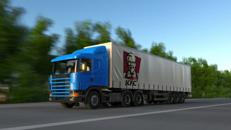 Freight semi truck with Kentucky Fried Chicken KFC logo driving along forest road. Editorial 3D rendering