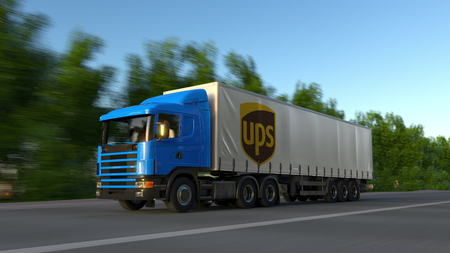 Freight semi truck with United Parcel Service UPS logo driving along forest road. Editorial 3D rendering