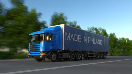 made in finland: Speeding freight semi truck with MADE IN FINLAND caption on the trailer. Road cargo transportation. 3D rendering Stock Photo
