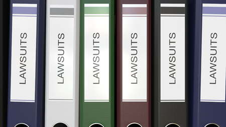 Multiple office folders with Lawsuits text labels 3D rendering