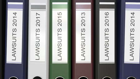 Multiple office folders with Lawsuits text labels 3D rendering different years