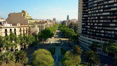 Barcelona major street aerial view, Spain. City traffic