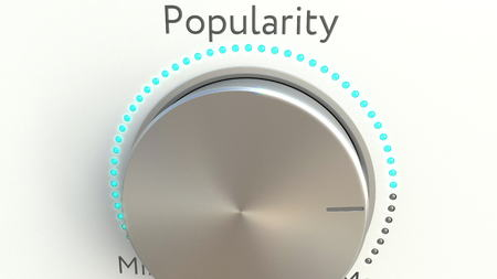 popularity: Rotating knob with popularity inscription. Conceptual 3D rendering