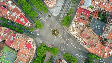 Roundabout in Barcelona, Spain, top view Stock Photo