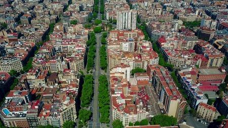 Barcelona dwelling houses blocks pattern and major street aerial view, Spain