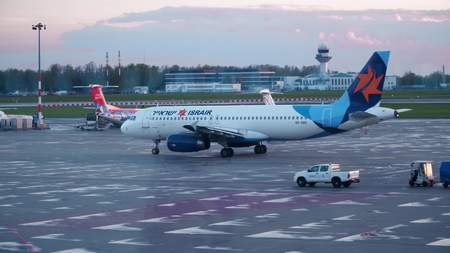 WARSAW, POLAND - APRIL, 14, 2017. Israir Israeli airline Airbus A320 airplane taxiing at the airport Editorial