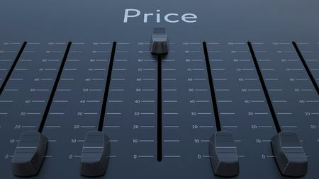 Sliding fader with price inscription. Conceptual 3D rendering